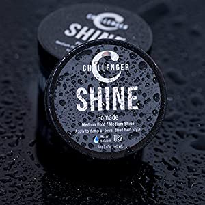 Shine Pomade - Challenger - 1.5OZ Medium Hold & Shine - Best Men's Styling Pomade - Water Based, Clean & Subtle Scent, Travel Friendly. Hair Wax, Fiber, Clay, Paste, and Cream, All In One