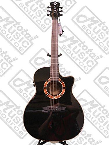 Luna FAUNOX Fauna Eclipse Nox Cutaway Quilted Top A/E Guitar, Ebony Fretboard, Translucent ()