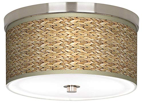 Liz Tropical Ceiling Light Flush Mount Fixture Brushed Nickel 10 1/4