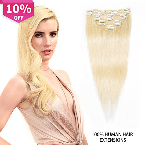 Clip In Hair Extensions Blonde Real Hair Extensions Thick Clip In Human Hair Extensions For Women Double Weft 8pcs 100g (18 inch, #613(Bleach Blonde))