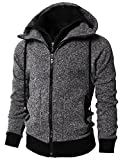 H2H Mens Active Casual Fleece Lining Double Zip Pullover Hoodie Jacket Charcoal US M/Asia L (KMOHOL0128)