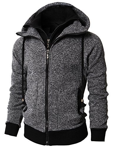 H2H Mens Active Casual Fleece Lining Double Zip Pullover Hoodie Jacket Charcoal US L/Asia XL - Colorblock Mens Pullover Fleece