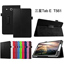 "Samsung Galaxy Tab E 9.6 Case,Mama Mouth PU Leather Folio 2-folding Stand Cover with Stylus Holder for 9.6"" Samsung Galaxy Tab E 9.6 T560 T561 Android Tablet,Black"