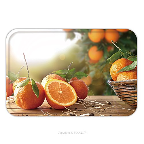 Flannel Microfiber Non-slip Rubber Backing Soft Absorbent Doormat Mat Rug Carpet Oranges Group Freshly Picked In A Basket And On A Brown Wooden Table In An Orange Grove With A 366844154 for Indoor/Out