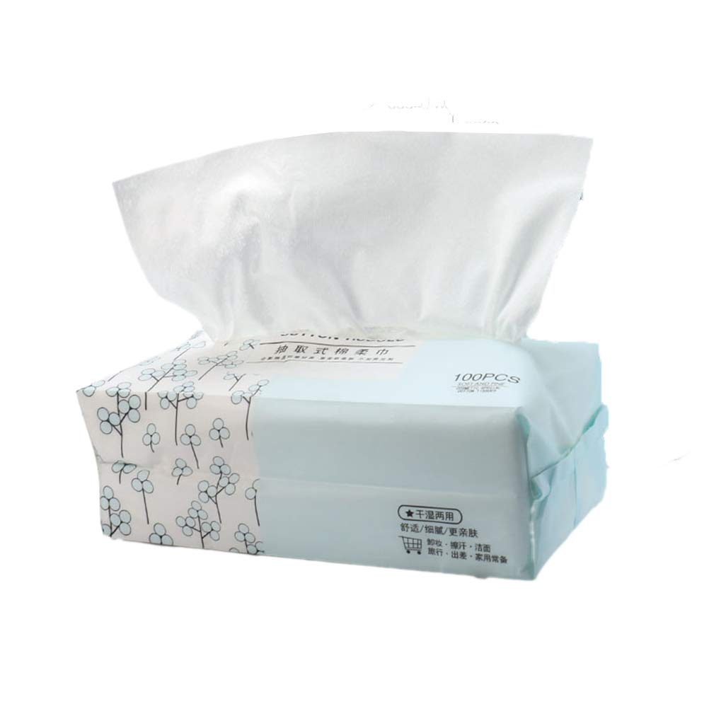 Frcolor 100 Pcs Cotton Tissue Towel Facial Soft Portable Disposable Cotton Pads for Face Make Up Removing