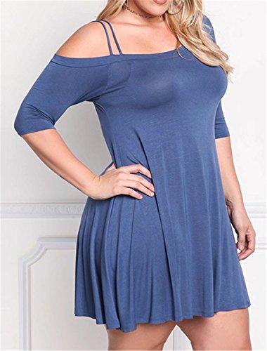 Betusline Femmes Taille Plus Large Robe À Manches Courtes Décontracté Épaule Bleu