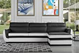 Modern Bonded Leather Sectional Sofa, Large
