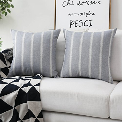 (HOME BRILLIANT Decorative Throw Pillow Covers Striped Modern Farmhouse Pillowcases for Indoor Outdoor, Set of 2, 18 x 18 inches(45x45cm), Grey Gray)