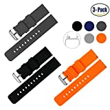 Vetoo 22mm Silicone Watch Bands, Silky Soft Quick Release Rubber Straps for Men & Women, Black/Dark Gray/Orange, Pack of 3