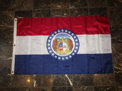 USA Seller3x5 Embroidered Missouri Double Sided SEAL 300D Nylon Flag 3039,x5039, 3 Clips+ bonus e-book with pictures
