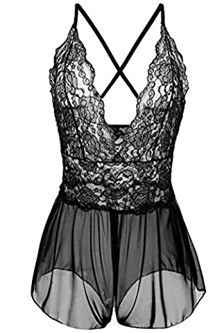 Avidlove Women Sexy Lingerie Lace See-through Babydoll Open Crotch Pant Dress (L = US M, Black - Open Crotch Teddy