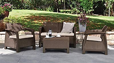 4-Piece Patio Conversation Set. Enjoy your premier outdoor backyard or patio furniture while lounging at home w/ your family on this Cushioned Patio Set.This comfortable all weather proof garden furniture set in elegant brown is perfect for your deck,bbq'