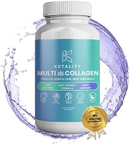 Ketality Multi Collagen Supplement for Healthy Joints, Hair, Skin and Nails | Enriched with the Most Essential Collagen Peptide Types for Age Defying, Anti-Wrinkle Formula and Joint Support | 60 Capsu