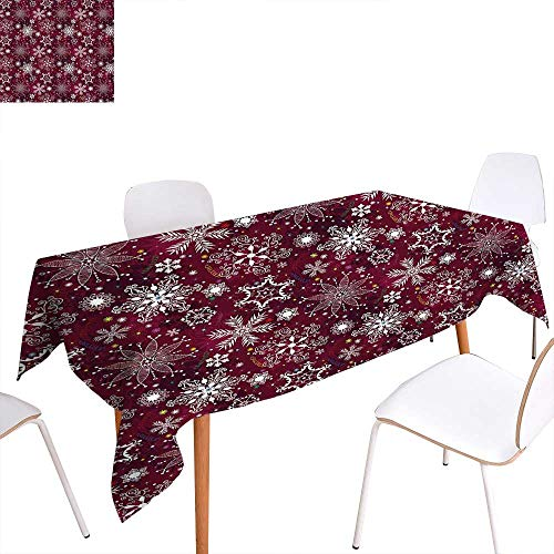 familytaste Winter Patterned Tablecloth Floral Flakes with Colorful Swirls Dots and Stars Confetti Xmas Party Dust-Proof Oblong Tablecloth 60