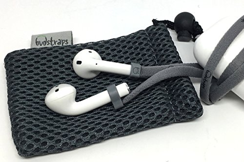 PodStraps Neck Strap for Apple Airpods (Charcoal) & Carry Pouch by BudStraps