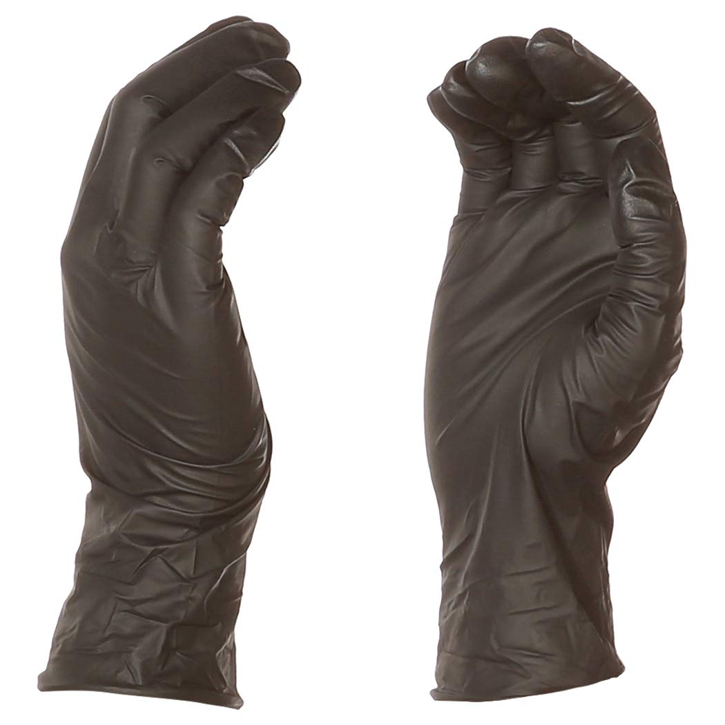 AmazonBasics Powder Free Disposable Nitrile Gloves, 5 mil, Black, Size L, 100 per Pack, 10-Pack
