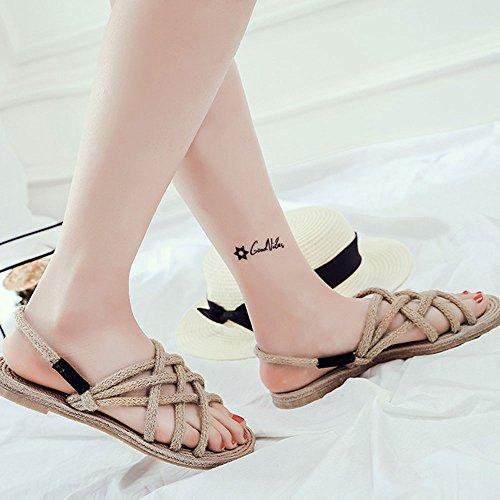 ZooBoo Rope Straw Sandals Shoes - Traditional Handmade Hemp Cosplay Non-Slip Flip Flops Clogs accessories Slipper Sneaker Footwear Oxford Sole For Men Women Girls Beige 4TU8oOKJah
