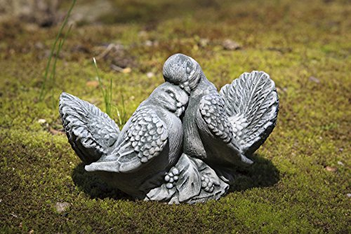 Campania Dove Small Pair, Cast Stone Animal Statue Garden Art (Campania Cast Stone Statue)