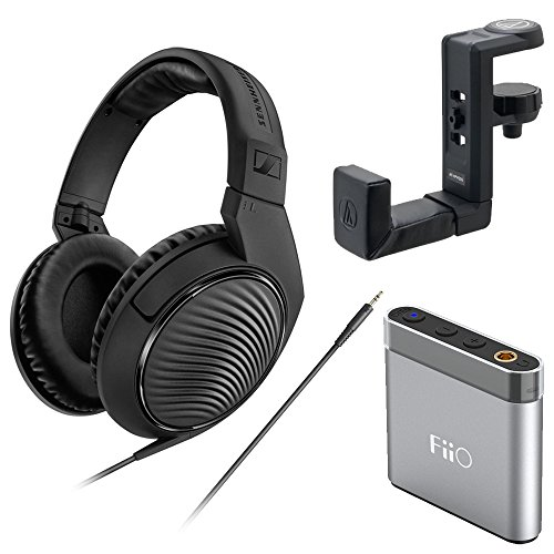 Sennheiser HD 200 Pro Monitoring Headphones plus FiiO Headphone Amp and Headphone Hanger by Sennheiser