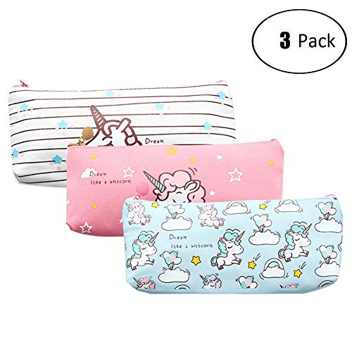 Unicorn Pen Holder Makeup Bag Canvas Pencil Pouch Zipper Stationery Purse Cute Wallet Cosmetic Bags Travel Small Case 3PCS