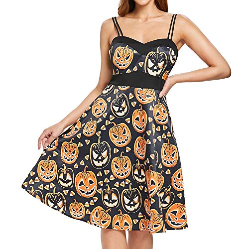 Night Slim Print Halloween Pumpkin Sexy TM Orange Coloré Femmes Dress Robe Vintage Hebburn U1xv6qw