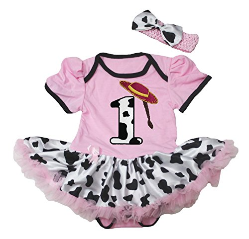 Petitebella 1st Birthday Pink Cowgirl Hat Cotton Baby Dress Bodysuit Cattle Tutu Nb-18m (12-18month)