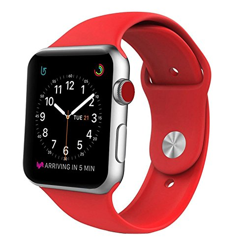Sport Band for Apple Watch 38mm S/M, Soft Silicone Strap Replacement Bands for Apple Watch Sport, Series 3, Series 2, Series 1(38mm S/M Black)