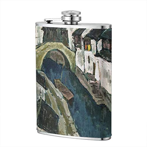 Hanging Decorations Flask for Gifts-8 Oz Premium Soft Touch Leather Wrap Water Towns Villages in China Stainless Steel Classic Style Stainless Steel Liquor Whiskey Hip Flask]()