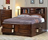 Dimensions of Eastern King Size Bed Coaster King Size Bookcase Chest Bed in Brown Finish