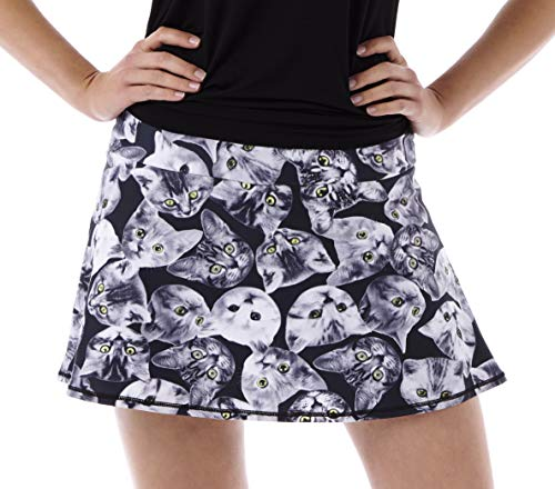 (Queen of the Court Cats! Print Women's Athletic Tennis Skirt/Tennis Skort (XLarge) Black White)