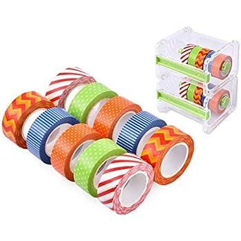 Ace Select 10M Washi Masking Tape DIY Sticker 10 Rolls with 2 Pcs 1 Layer Transparent Desktop Tapes Cutter Dispenser Storage Case, Roll Tape Holder