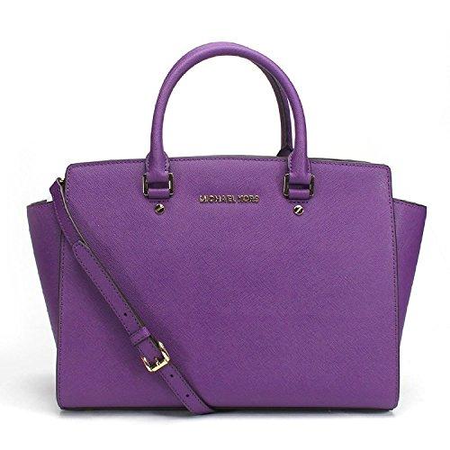 MICHAEL  Large Selma Top Zip Satchel in Purple Violet