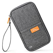 Mossio [Upgraded] RFID Travel Wallet Passport Holder Journey Case Document Organizer Ticket Holder Grey