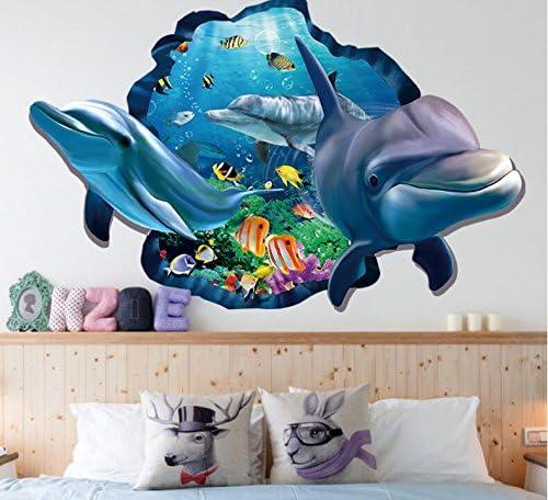 Hallobo Xxl Wandtattoo Wandaufkleber 3d Fenster Delphin Unterwasserwelt Delfine Marine Meer Wandbild Wohnzimmer Schlafzimmer Kinderzimmer Deko Badzimmer Amazon De Kuche Haushalt