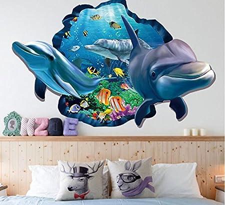 HALLOBO/® Stickers muraux Aquarium sous-Marin de Poissons de mer Profonde Requin Baleine Sticker Mural Salle de Bain Autocollant Mural Nursery Girl Enfants B/éb/é