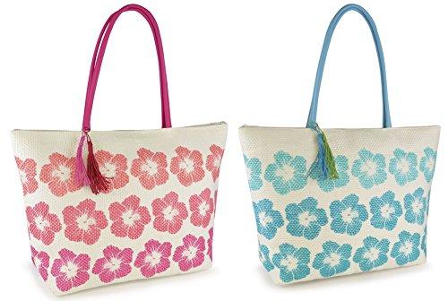Large Bag Summer Tote Swim Print Shopping Pool Tassels Womens Floral With Beach Aqua w8dwHq