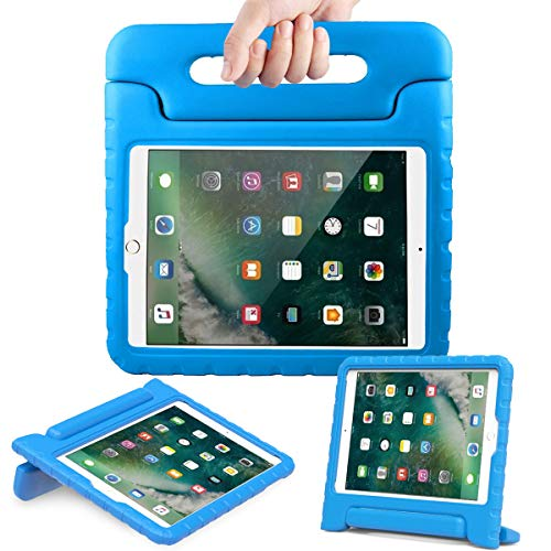 AVAWO Kids Case for New iPad 9.7 2017 & 2018 Release - Light Weight Shock Proof Convertible Handle Stand Friendly Kids Case for iPad 9.7-inch 2017 & 2018 Latest Gen (iPad 5th & 6th Gen) - Blue (Best Kid Proof Ipad Case)