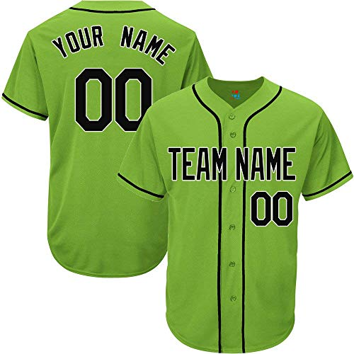 (Light Green Custom Baseball Jersey for Men Women Youth Replica Embroidered Team Name & Numbers S-5XL Black White)