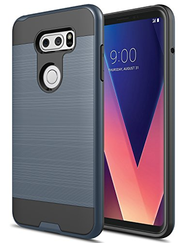LG V30 Case, LG V30 Plus Case, Rosebono 2-Piece Style Slim Brush Texture  Protective Hybrid Defender Armor Case Cover For LG V30 / V30Plus (Navy)