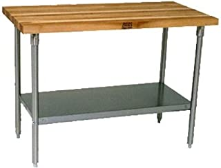 """product image for John Boos Work Table with Commercial Blended Maple Top, Stainless steel base and shelf, 72"""" W x 30"""" D x 35-1/4"""" H"""