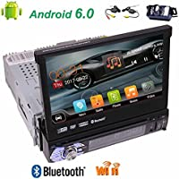 Free wireless camera included!Single din High Resolution 7 inch Digital LED Backlit LCD TFT Display Removable panel with gps car dvd player newest android 6.0 car stereo support Bluetooth,wifi,3G/4G a