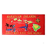 Hawaii Beach Towel 100% Cotton 60x30 Red Islands Names Map Dolphin Oahu
