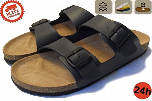 Herren Komfort Bio Pantoletten Tieffußpantoletten Leder Sandalen Kork Clogs Blau Schlappen Latschen 41 42 43 44 45