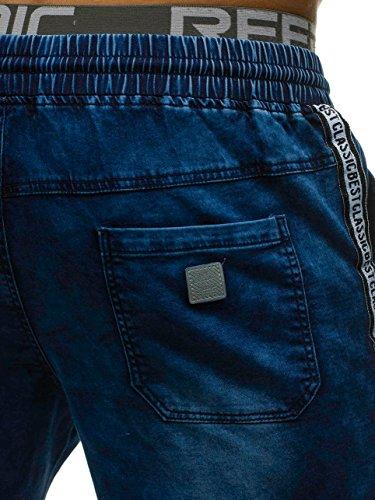 Vaquero Motivo Pantalón Deportivo Estilo Azul Oscuro 7g7 Cotidiano Hombre hy190 Corto Bolf q4UF7pc
