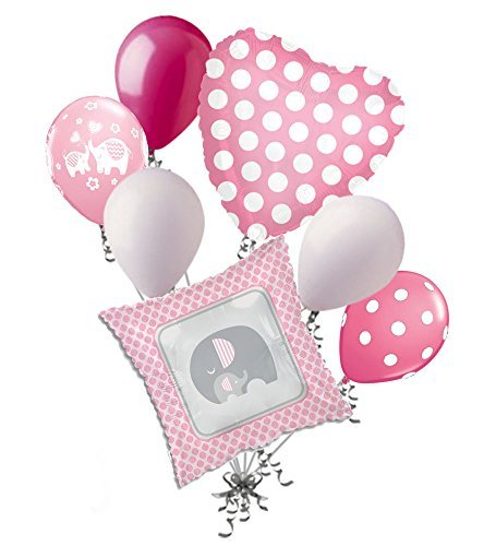 (7 pc Pink & Grey Elephant Baby Girl Balloon Bouquet It's a Shower Welcome Home)