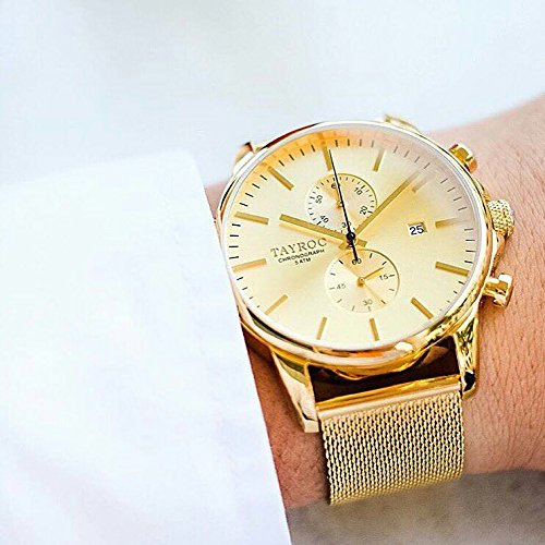 Reloj hombre RELOJ tayroc Iconic Oro Classic cronógrafo acero inoxidable cuarzo pulsera txm053: Amazon.es: Relojes