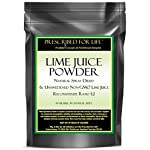 Lime Juice Powder - Natural Spray Dried & Unsweetened Non-GMO Lime Juice - Reconstitute Ratio 1:2, 12 oz 3 100% pure non-GMO lime juice with lime oils Excellent for food and drink recipes Great source of antioxidants