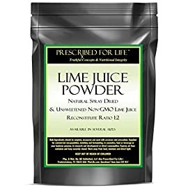 Lime Juice Powder - Natural Spray Dried & Unsweetened Non-GMO Lime Juice - Reconstitute Ratio 1:2, 12 oz 6 100% pure non-GMO lime juice with lime oils Excellent for food and drink recipes Great source of antioxidants