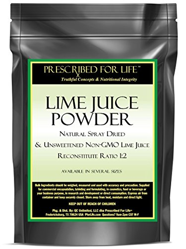 Lime Juice Powder - Natural Spray Dried & Unsweetened Non-GMO Lime Juice - Reconstitute Ratio 1:2, 12 oz 1 100% pure non-GMO lime juice with lime oils Excellent for food and drink recipes Great source of antioxidants