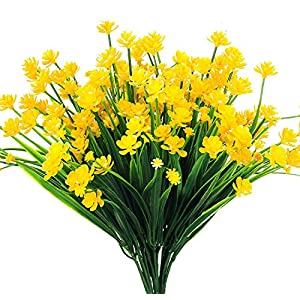 AngleLife Artificial Fake Flowers,6pcs Faux Yellow Daffodils Greenery Shrubs Plant Indoor Outside Hanging Plastic Planter Home Garden Wedding Decor 2